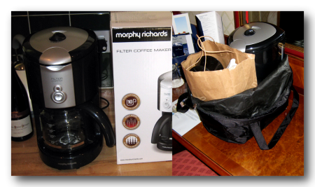 Coffe Maker On The Counter (Left) And In Its Travel Bag (Right)