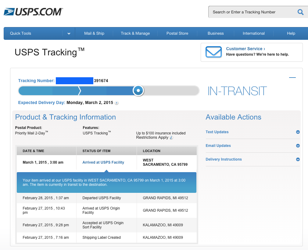 usps parcel tracking number